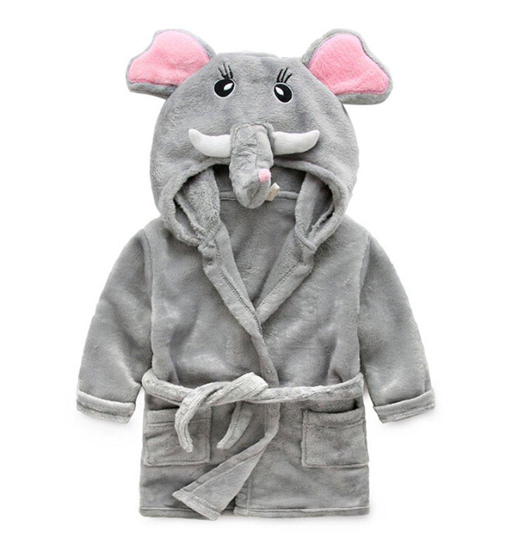 DAYAN Super doux Bébés et garçons Peignoir à capuchon pour animaux Robes Serviette de bain Pyjamas Pyjamas Peignoir éléphant Taille 90cm