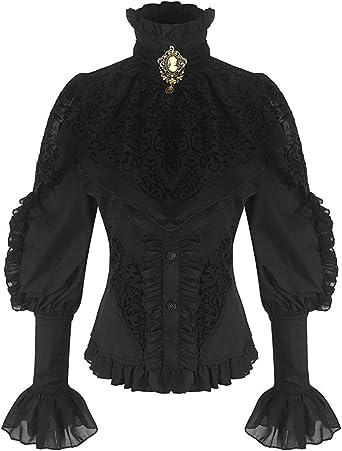 Negra viktorianische Mujer de Manga Larga Blusa con Chorrera y Oranger Broche (21099) Negro 46: Amazon.es: Ropa y accesorios