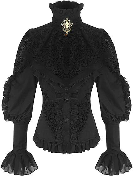 Negra viktorianische Mujer de manga larga blusa con Chorrera y Oranger Broche (21099)