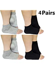 Moisturizing Heel Socks Open Toe Socks for Dry Hard Cracked Skin Moisturizing Day Night Care Skin, Spa Gel Socks Humectant Moisturizer Heel Balm Foot Treatment Care,4 Pairs