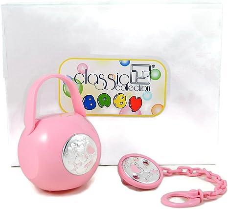 Juego 1 porta chupete/chupete a caja y 1 A cadena rosa con ángel de la guarda de plata: Amazon.es: Bebé