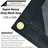 HydraTarp 12 Ft. X 24 Ft. Super Heavy Duty 10oz Breathable Mesh Tarp - 10 oz per/sq yd weight - Black Color