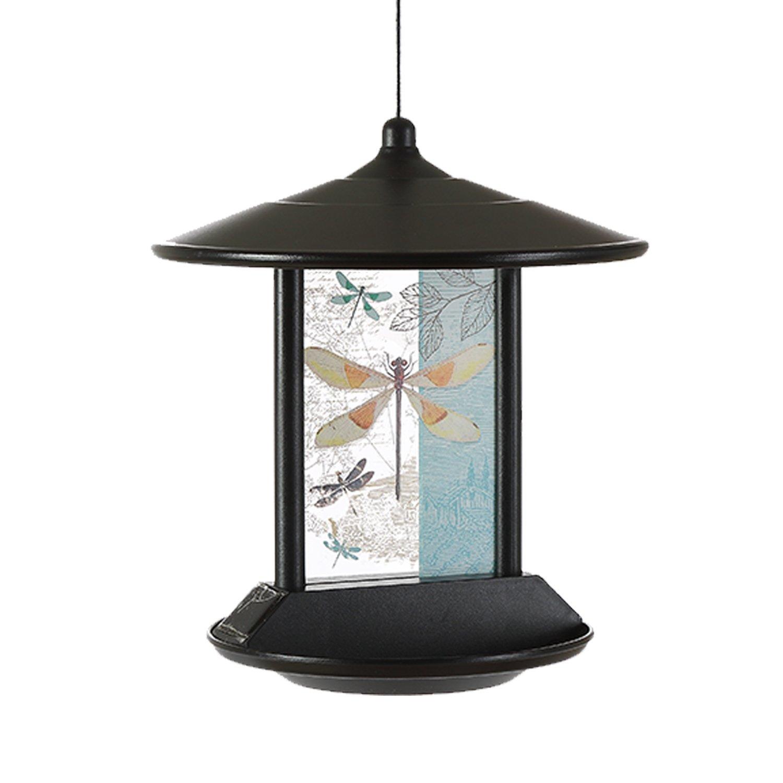 CEDAR HOME Hanging Solar Bird Feeder Outdoor Garden Decorative Water Proof Glass Pet BirdFeeder Eave, Iridescent Dragonfly