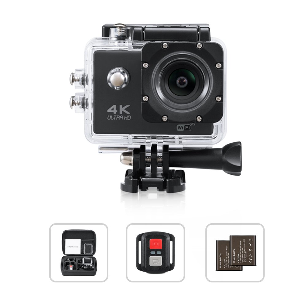 Yimaler 4K Action Camera HD 1080P WiFi Waterproof Mini Sport Cam 2 Inch LCD Screen 16MP Remote Control 100 Feet 170 Degree Wide Angle 2 Rechargeable 1050mAh Battery Free Travel Bag Black by Yimaler
