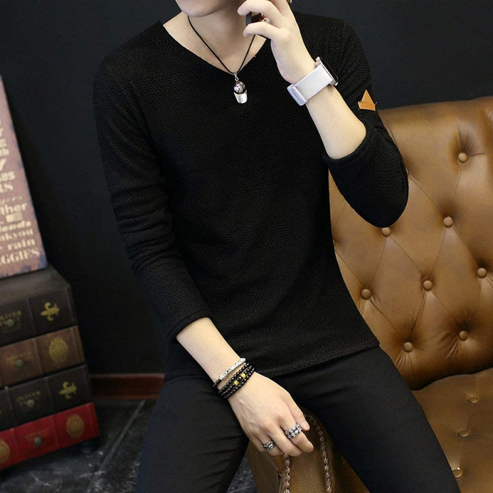 MTCDBD T Shirt Long Sleeve,V-Neck Spring MenS Cotton Black T-Shirt,Sports Shirt Slim Quick-Drying Stretch Business Breathable Clothing Knitted Sweater Workwear Vest