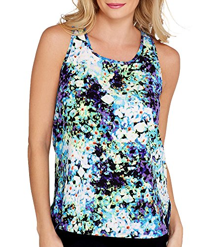 Calvin Klein Performance Oleander High/Low Tank, L, Blue Velvet
