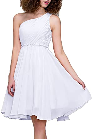 99Gown Cocktail Dresses Short Prom DressesOne Shoulder Prom Formal Dresses For Women Bridesmaid, Color White