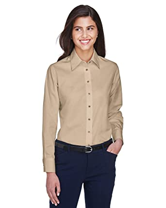 4be31b11 Harriton M500W - Ladies Easy Blend™ Long-Sleeve Twill Shirt with ...