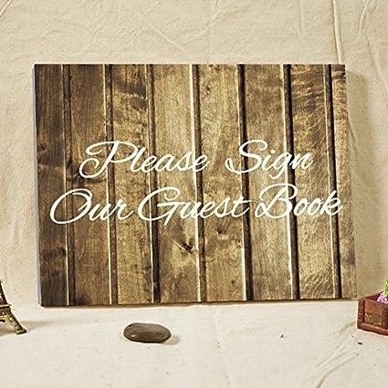 Veuillez Signer Notre Livre D Or En Bois Rustique De Mariage