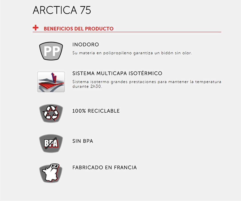 Bidon ISOTERMO Frio Calor ZEFAL ARCTICA ROJO 750ml de Ciclismo ...