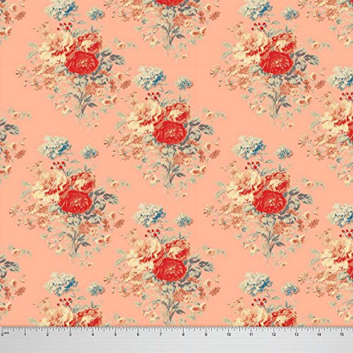 Soimoi Floral Printed 56 Inches Wide Decorative Cotton Fabric Dressmaking Material 60 GSM By The Yard - Peach
