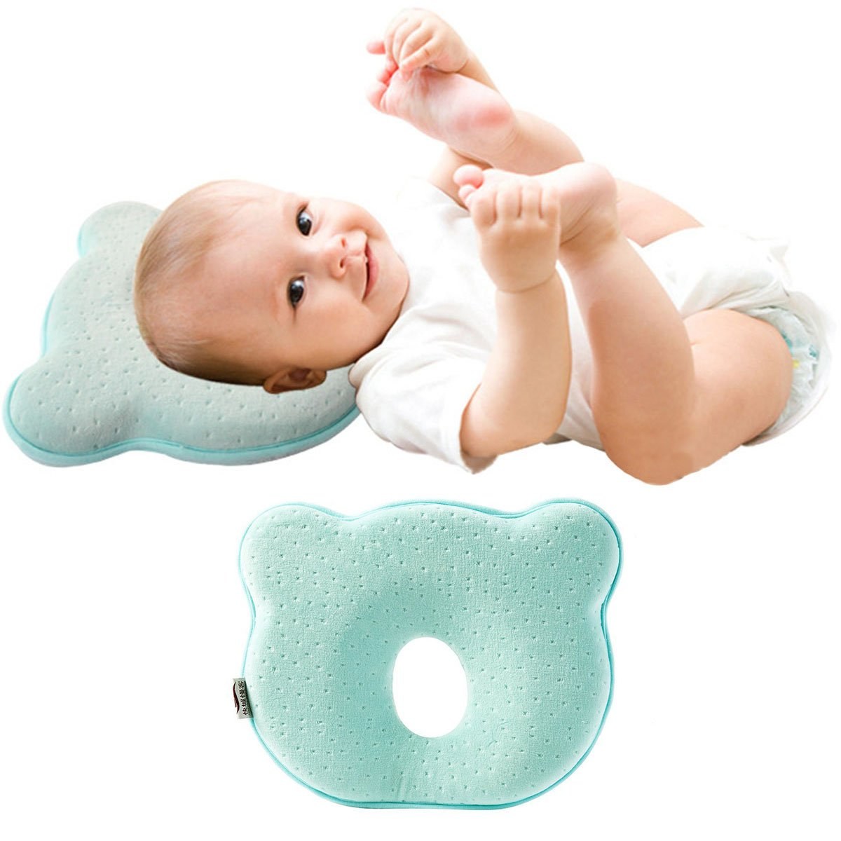 KINGSUNG Baby Pillow Soft Infant Head Orthopedic Shaping Pillow Memory Foam Sleeping Cushion to Prevent Plagiocephaly Flat Head Syndrome