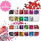 48 Boxes Holographic Nail Sequins Butterfly Leaf