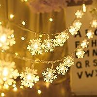 Salandens Christmas Lights, Christmas Decorations Snowflake String Lights 33 ft 100 LED,Carga de energía, ahorro de…