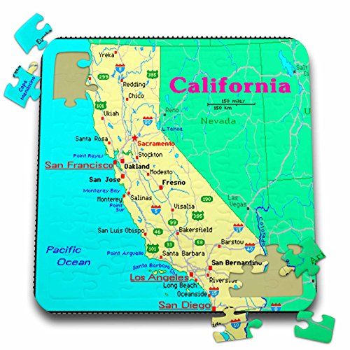 3dRose Florene Décor II - Framed Colorful Map of Calif - 10x10 Inch Puzzle (pzl_39040_2) (Calif Map)