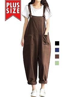 f1ec97df5d7 Women Plus Size Overalls Cotton Wide Leg Jumpsuits Vintage Baggy Pants  Casual Rompers