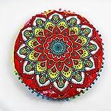 Weiliru Creative Designs Large Round Pillow Cover Decorative Mandala Pillow Sham Indian Bohemian Ottoman Poufs Cover Pillow Cases Outdoor Cushion Cover 43×43cm