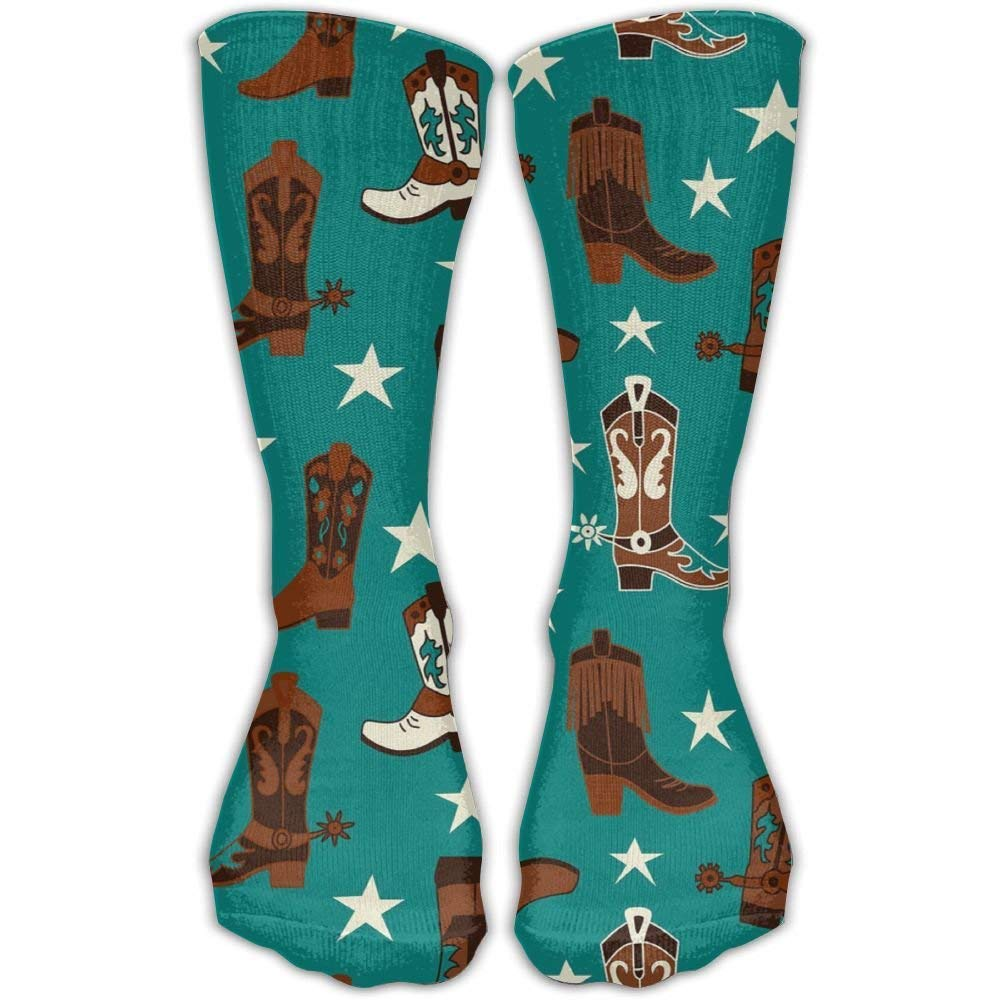 Beautiful Colourfu Cotton Teal Cowboy Boots Stockings For Unisex