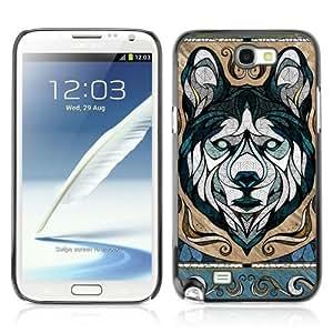 YOYOSHOP [Cool Wolf Illustration] Samsung Galaxy Note 2 Case