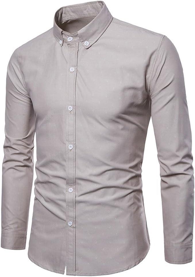 Winwinus Mens Long-Sleeve Plus-Size Casual Leisure Non-Iron Business Shirt