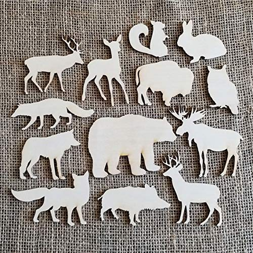 Wood Forest Animals Shapes, Woodland Nursery, Party Decoration, Wood Animals, Bear, Deer, Bison, Wolf. Made in Canada]()