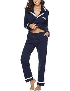 Abollria Pijamas Mujer Algodon 2 Piezas Conjunto de Pijama Ropa de Dormir Manga Larga y Pantalones Largos Suave y Cómodo: Amazon.es: Ropa y accesorios