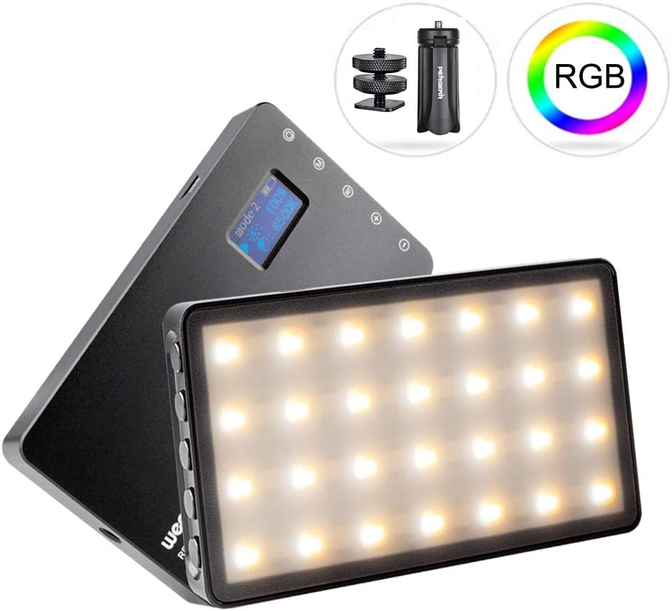 Weeylite RB08P Full Color RGB LED Video Light, CRI95+ Accurate Color, 2500k-8500k Adjustable, 8 Functional Modes, 10%-100% Dimmable, with OLED Screen,Built-in Battery, Pergear Mini Tripod