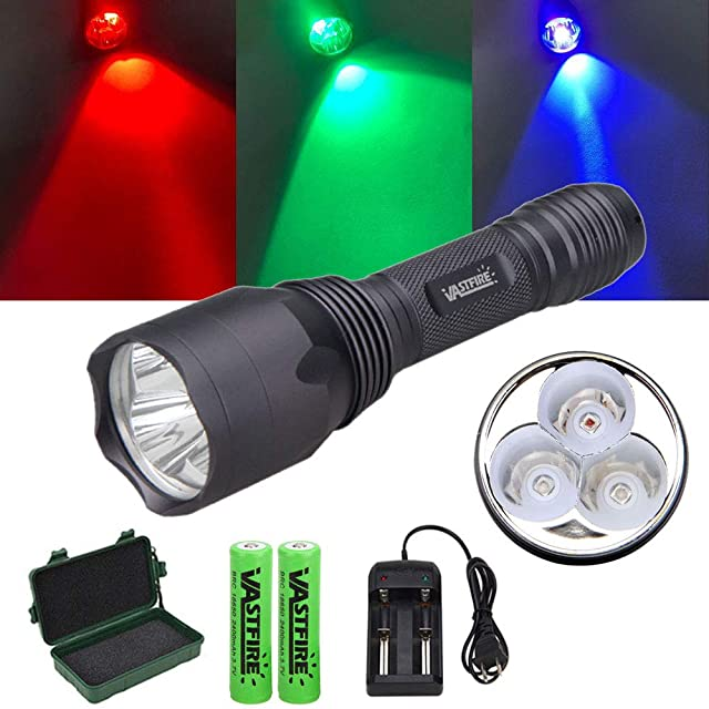 VASTFIRE Whitetail Deer Blood Tracking Light Green/Red/Blue Cree Led Flashlight