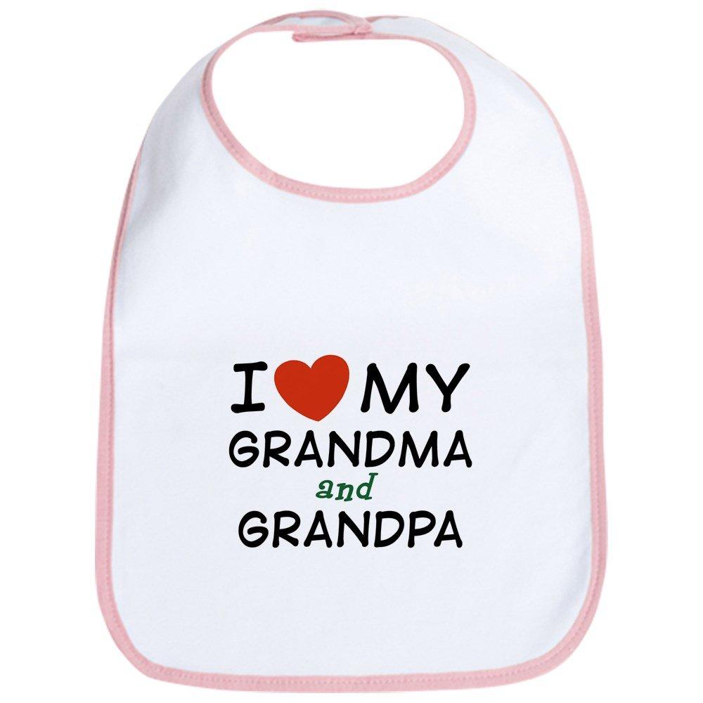 CafePress - I Love My Grandma And Grandpa Bib - Cute Cloth Baby Bib, Toddler Bib