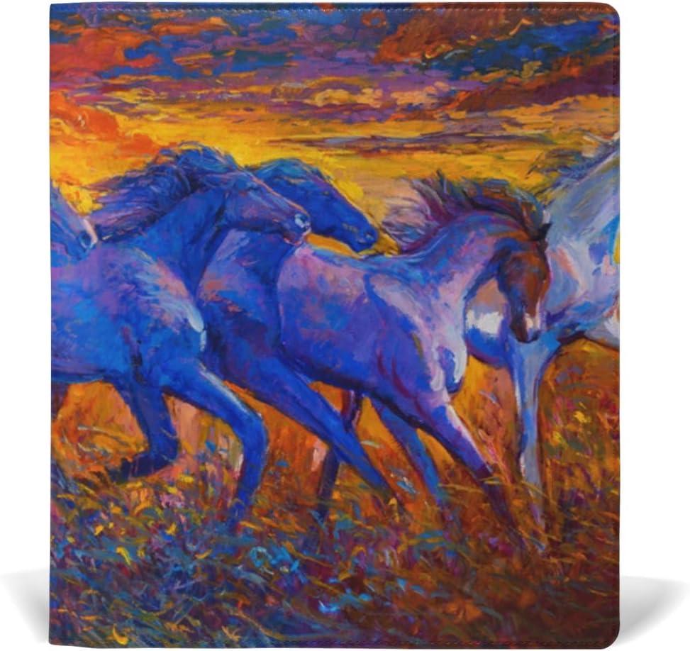 Fundas para libros de tapa blanda Jumbo Protector chamarra durable escuela reutilizable caballos correr pintura al óleo