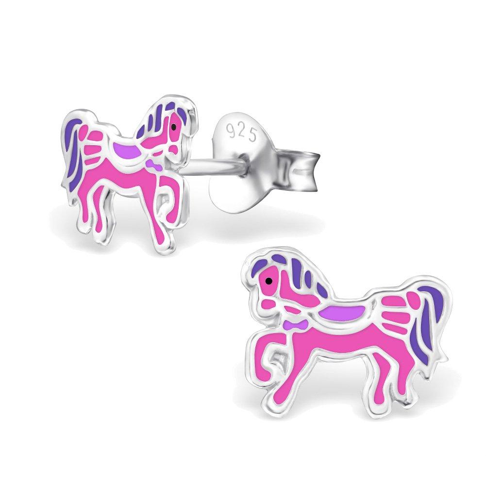 2 Paar // 4 St/ück schmuxxi Kinder Ohrringe 925 Silber Ohrstecker f/ür M/ädchen Pferd Pony