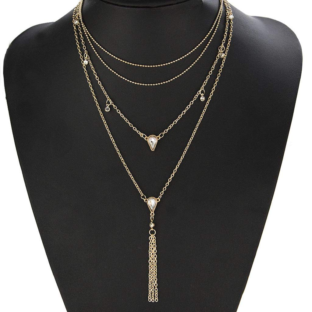 LMYN Womens Necklace Jewelry Drop-Shaped Multilayer Necklace Sweater Chain Chest Chain Girl Gift Jewelry