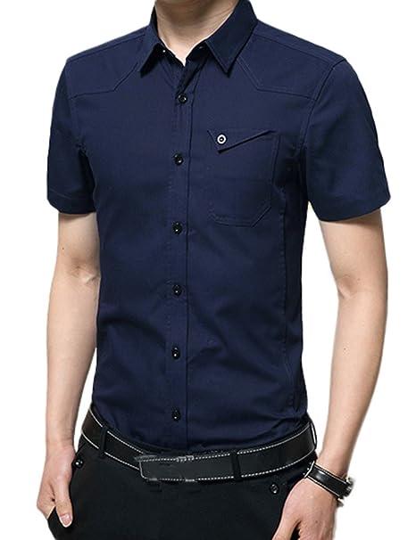 40fbb1e4444 Idopy Camisas Formales Clásicas para Hombre de Manga Corta, Uniformes, de  Estilo Militar: Amazon.es: Ropa y accesorios