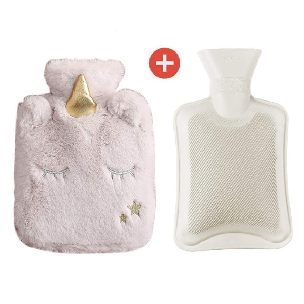 Lovhome Rubber Hot Water Bottle,Unicorn Fleece Cover, 1 Liter Portable Classic Warmer Set,Great for Pain Relief, Hot and Cold Therapy(Grey)