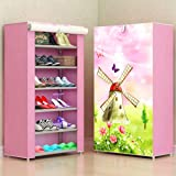 Aysis Multipurpose Portable Folding Shoes Rack 6 Tiers Multi-Purpose Shoe Storage Organizer Cabinet Tower with Iron and Nonwoven Fabric with Zippered Dustproof Cover (Windmill-Pink)