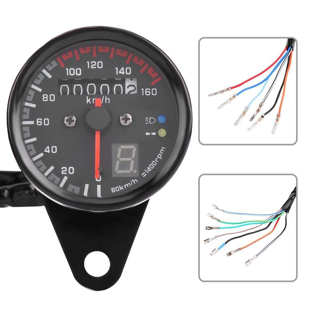 Nero, tachimetro Digitale Tachimetro contagiri con indicatore LED KIMISS Tachimetro Moto Universale