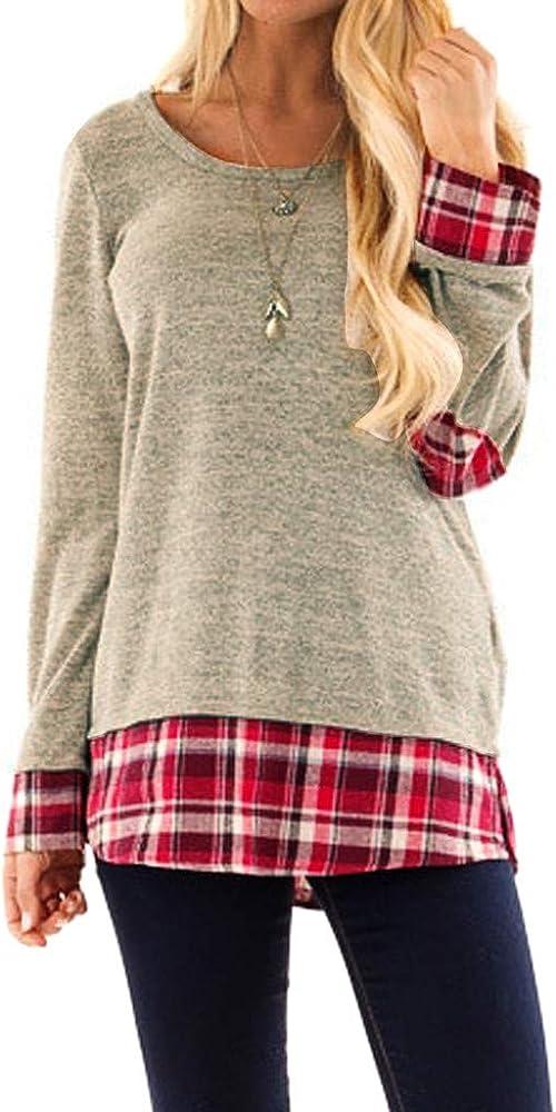 Camisas de otoño Invierno, Dragon868 2019 Invierno Mujeres jóvenes Casual Plaid Desigual Patchwork Camisas de Polo túnica Mujer Blusa Talla Grande: Amazon.es: Ropa y accesorios