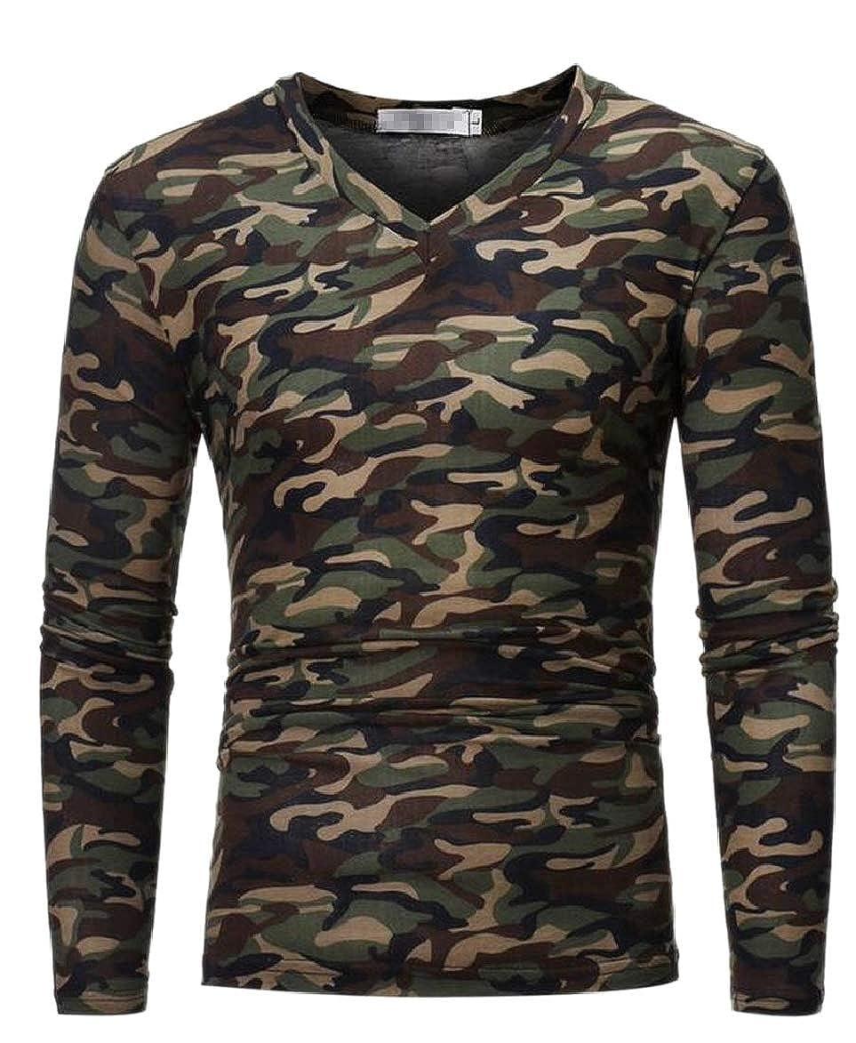 RRINSINS Mens V Neck Casual Long Sleeve Slim Fit Camo T Shirt Tee