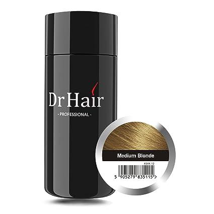 Dr Hair Fibers, Fibras de pelo, anti-caída del cabello, Queratina de pelo en pluma, Rubio Medio, 30g