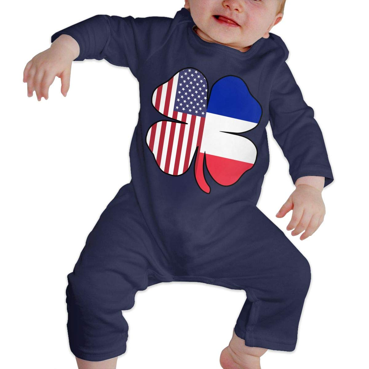 Mri-le1 Baby Boy Organic Coverall American France Flag Shamrock Baby Rompers