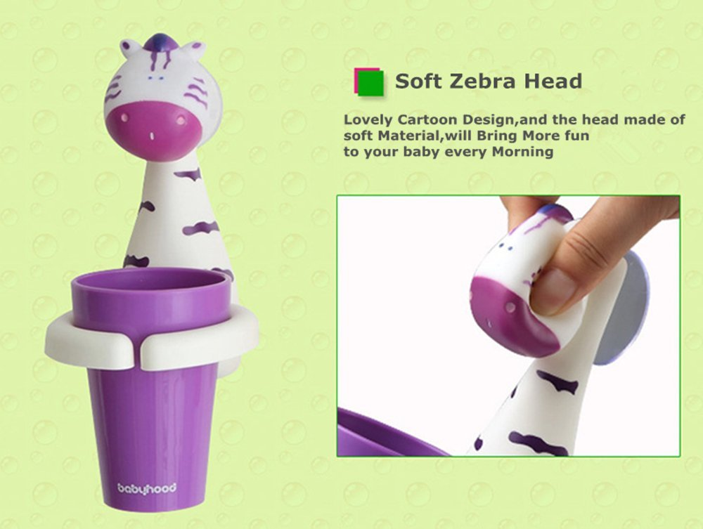 Animal Cartoon Children Toothbrush Holder Suit, Creative Candy Color Wall Suction Hanging Mouthwash Cup Food-Grade Material (Giraffe) HEYING BABY