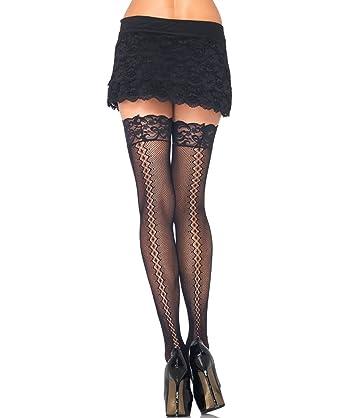 c48b4cd9da8 Leg Avenue 9942 Women s Stay Up Fishnet Thigh High Stockings With Backseam  - One Size -