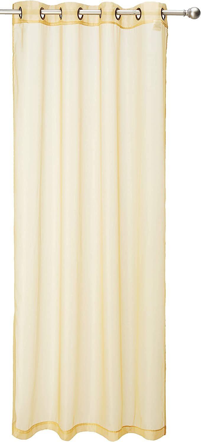 """Kashi Home Leah Collection Window Sheer/Curtain/Panel 55""""x 84"""" Lightweight Solid Sheer Design in Gold - Single Panel, Grommet Top Hanging Panel"""