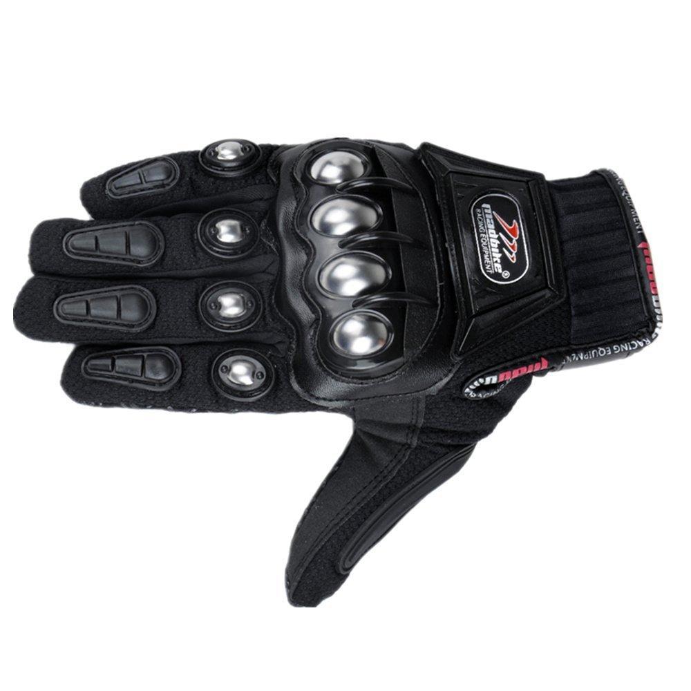 oubaiya Steel Outdoor Reinforced Brass Knuckle Motorcycle Motorbike Powersports Racing Textile Safety Gloves (Black, XX-Large) by oubaiya (Image #2)