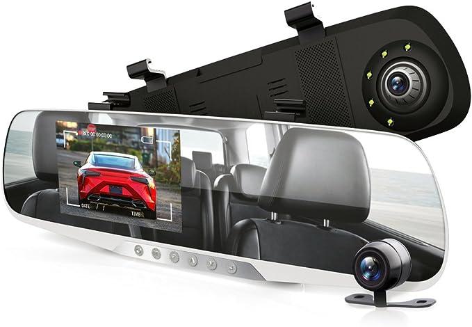 Pyle PLCMDVR46 4,3, DVR, sistema de grabaci/ón de v/ídeo en Full HD, 1080p, sensor de movimiento integrado, funci/ón de grabaci/ón en bucle Monitor de visi/ón trasera para c/ámara de salpicadero