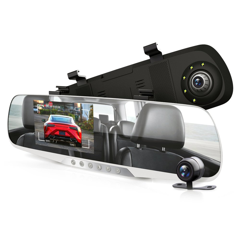 "Dash Cam Rearview Mirror Monitor - 4.3"" DVR Rear View Dual Camera Video Recording System in Full HD 1080p w/Built in G-Sensor Motion Detect Parking Control Loop Record Support - Pyle PLCMDVR46"