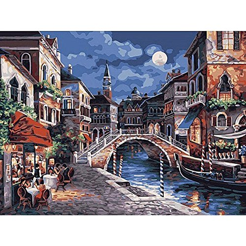Wivilly Children's DIY Oil Painting By Numbers Kits,Town Scenery 12 X 16 inch,Acrylic Colorful Drawing Educational Toys for Kids to Draw on Canvas