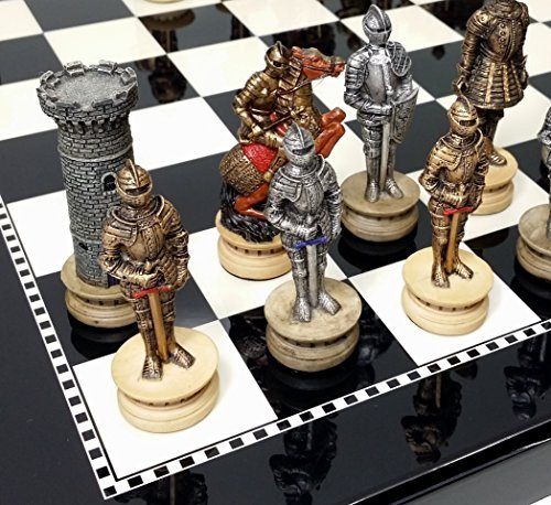 Medieval Times Crusades Gold & Silver Warrior Knights Chess Set W/ 15