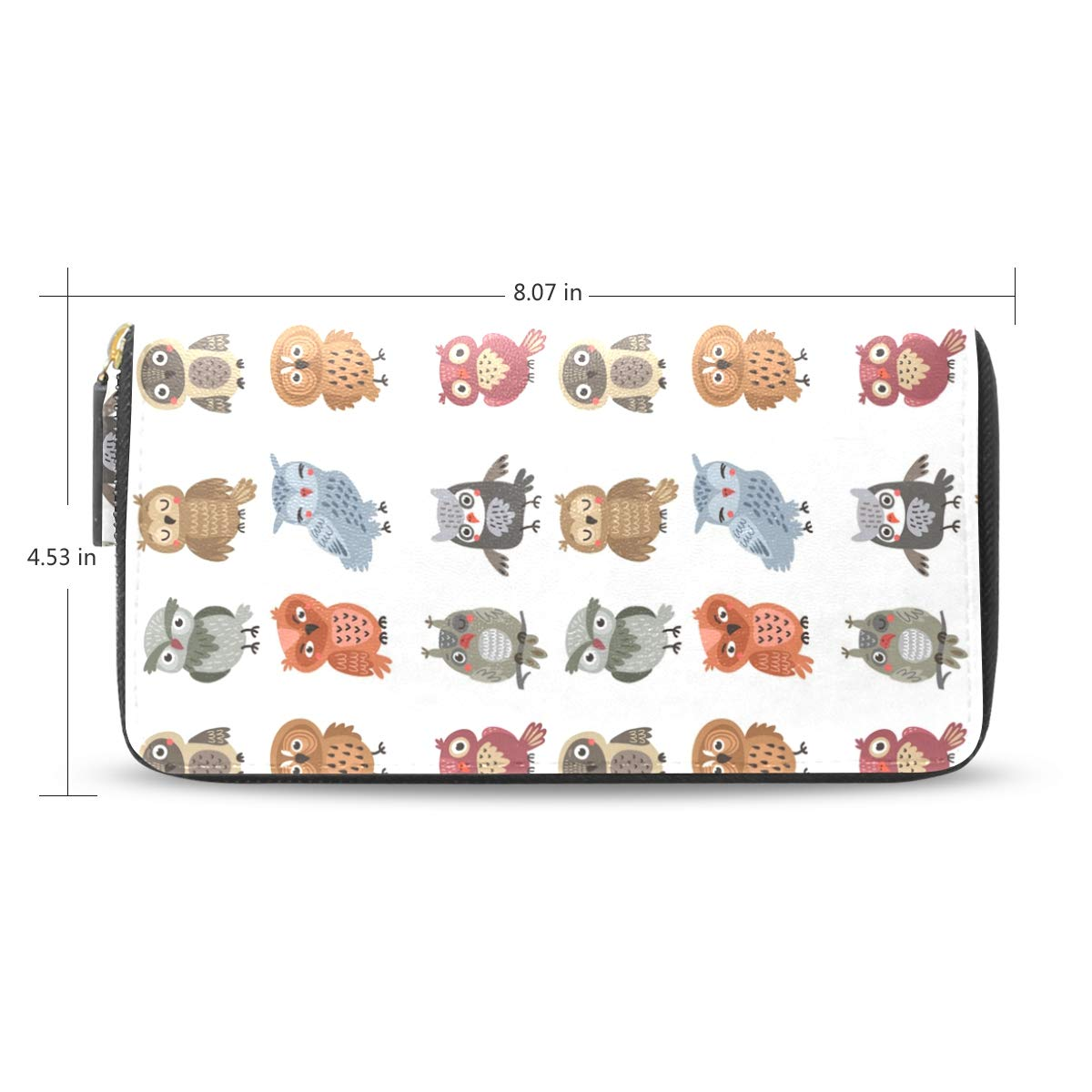 Women LeatherOwls Pattern Wallet Large Capacity Zipper Travel Wristlet Bags Clutch Cellphone Bag