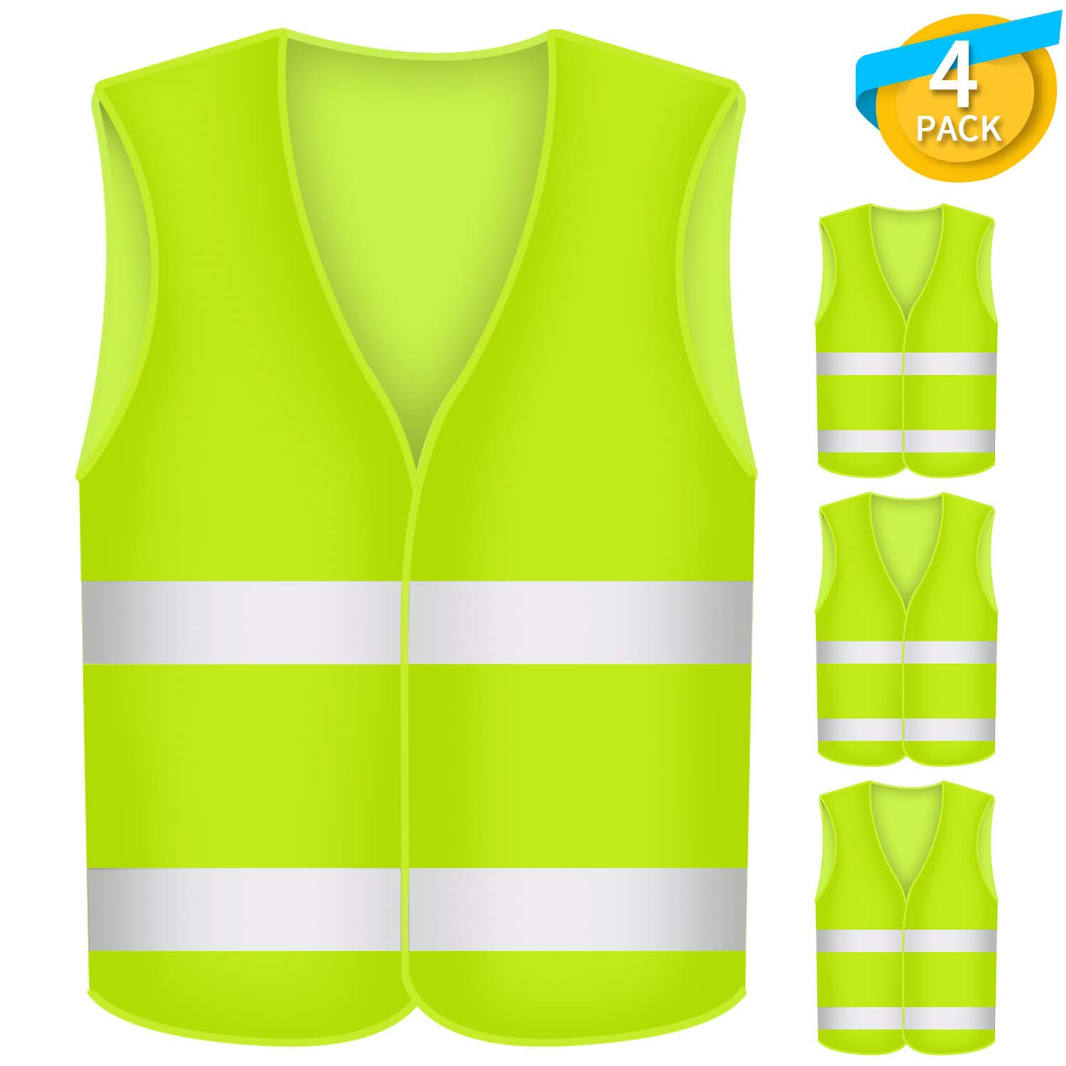 Fesoar High Visibility Vest, Reflective Safety Vest, Breakdown Aid, Ensuring the Safety of Drivers and Workers with High Risk, Washable, Polyester, Neon Yellow, Pack of 4, 125cm